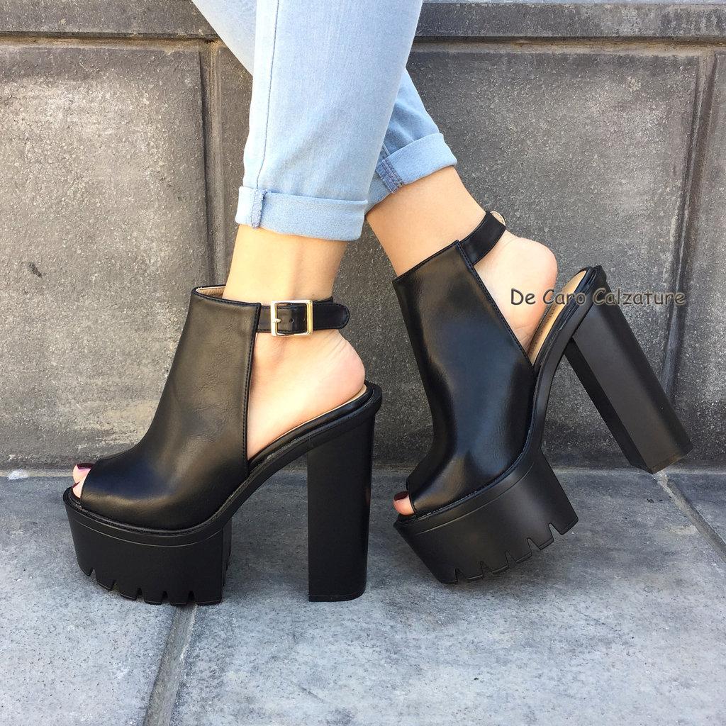 Scarpe donna tronchetti spuntati sandali alti sabot eco pelle tacco largo 14 u31 - Scarpe sabot nero giardini ...