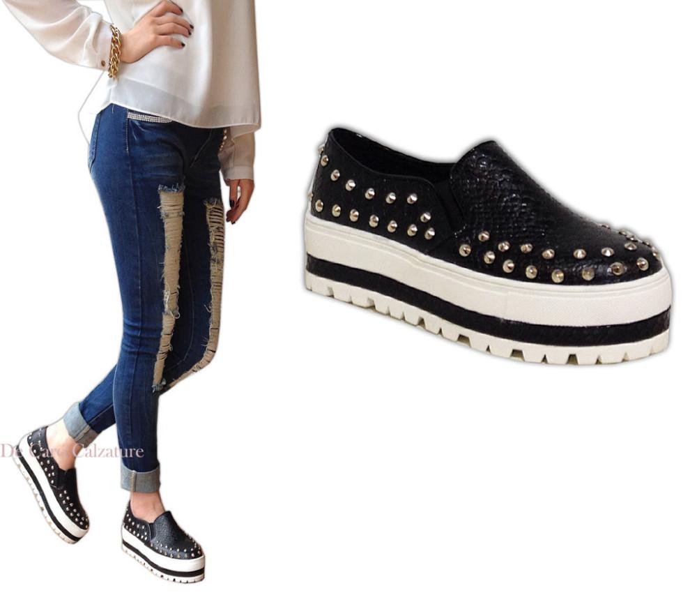 sports shoes 7e7b9 47b14 SCARPE DONNA SNEAKERS SLIP ON ECO PELLE BORCHIE FONDO IN ...