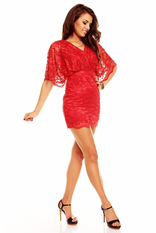 Vestito rosso corto pizzo