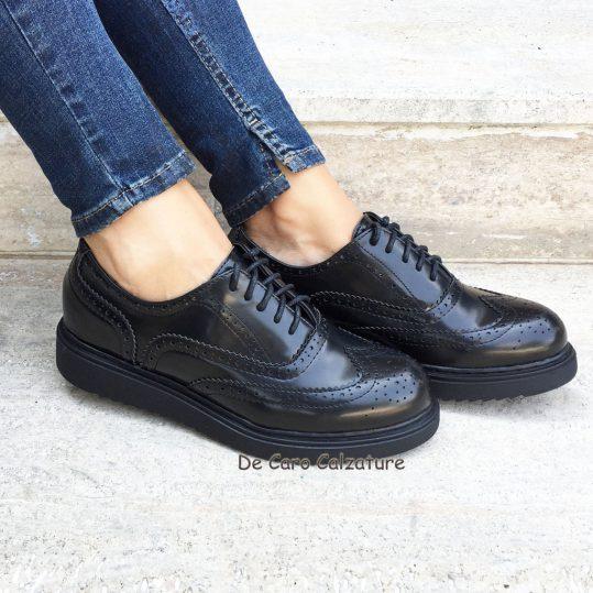 Scarpe Donna Sneakers Polacchine Con Lacci Inglesine