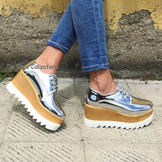 Pelle Donna Eco Alta Suola 8cm Stringate Scarpe Sneakers Gomma wBIdPqP