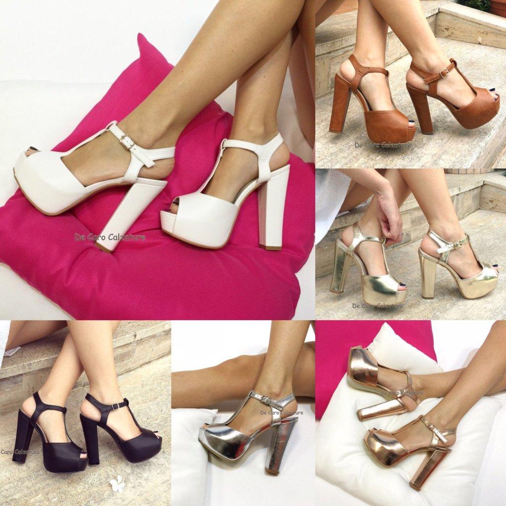 Sandali eleganti eco pelle con cinturino tacco comodo 13 Z70 ... 1d11561ad63