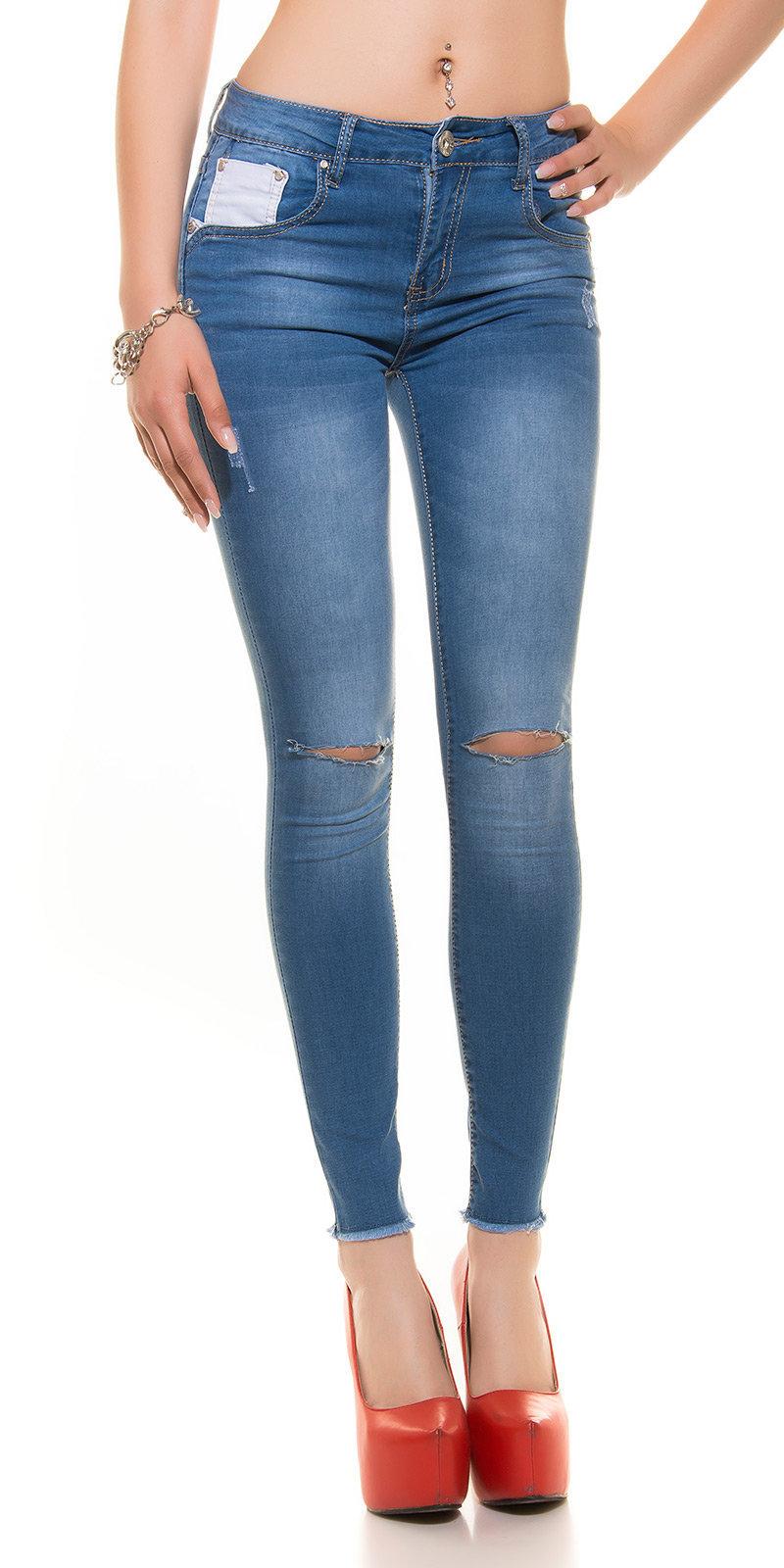 kkskinny jeans destroyed look color jeansblue size l 0000j990 jeansblau 17 de caro calzature. Black Bedroom Furniture Sets. Home Design Ideas