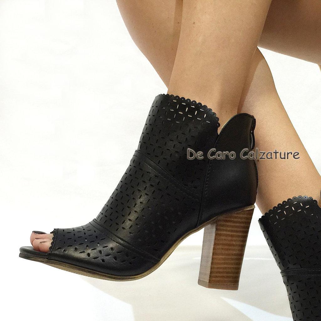 Scarpe donna tronchetti spuntati sandali estivi con tacco alto comodo e fibbie