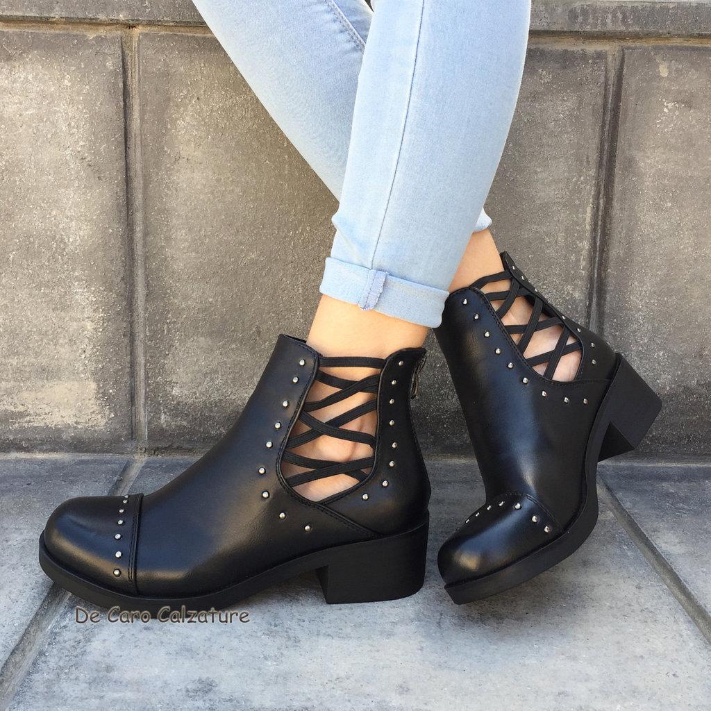 Scarpe donna stivali stivaletti eco pelle estivi sandali aperti con borchie c53 - Nero giardini saldi 2017 ...