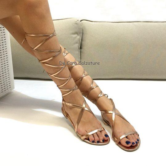 design di qualità 7862d 356dd SCARPE DONNA SANDALI BASSI SCHIAVA lace up STRINGATI C92