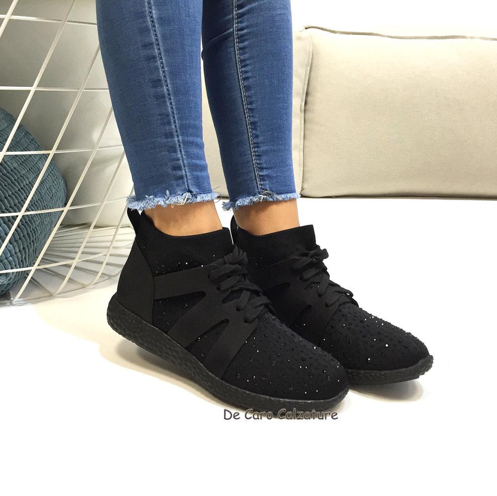 Donna Originali E D99 Con Comode Scarpe Strass Effetto Sneakers Calza wiTlPuXOkZ