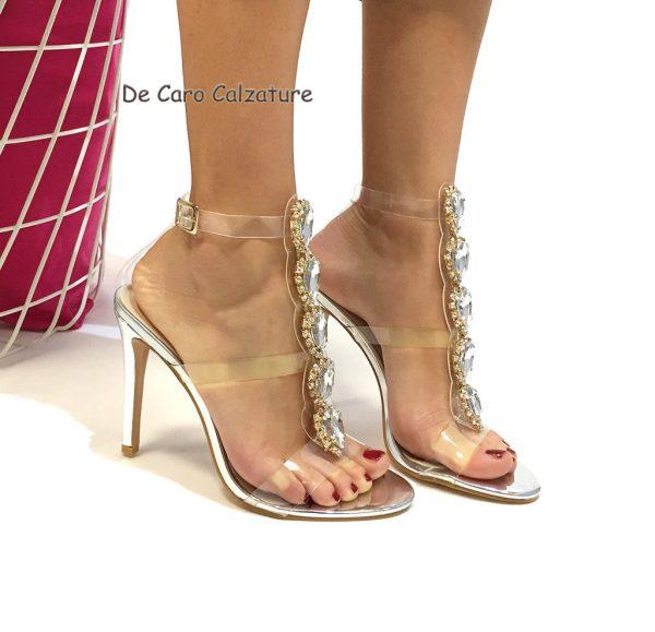 hot sale online 33138 75885 Sandali gioiello con pietre effetto nudo tacco alto 10 E64