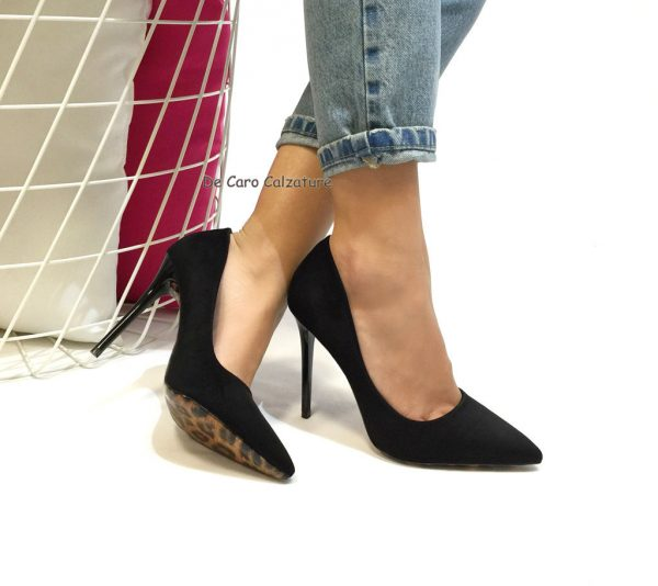 sports shoes d9abb 9b904 Decolletè a punta in camoscio suola leopardata E67