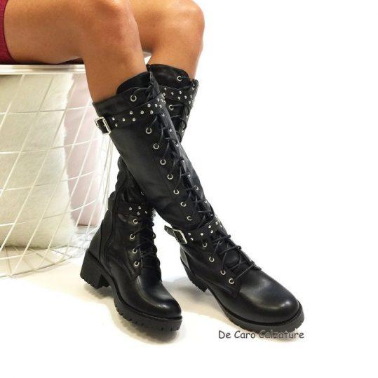 informazioni per 482af 33431 Anfibi alti alla gamba stivali stringati con borchie G89