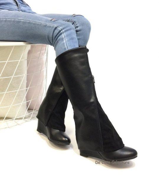 d78571692cbcf1 Stivali particolari con zeppa eco pelle gambale con zip K50