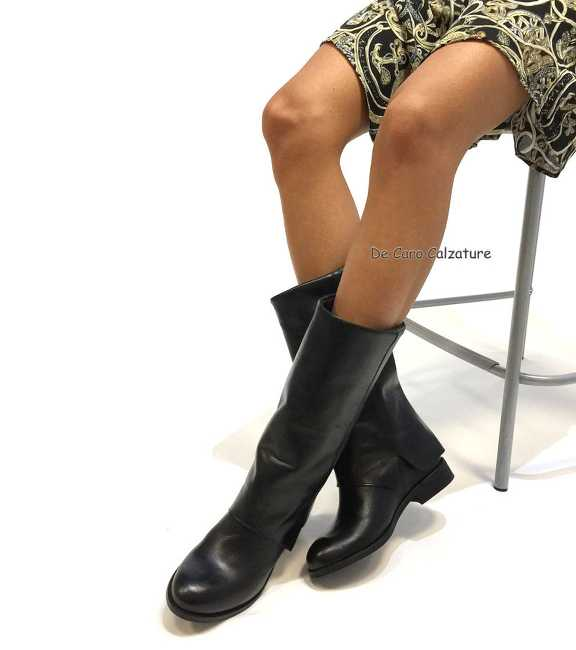 Stivali in vera pelle di vitello nero   Imperatrice