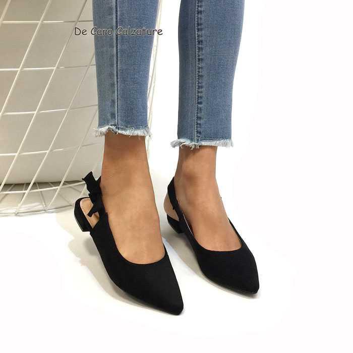 scarpe sportive ae81b 9638f Ballerine bon ton a punta sandali bassi con fiocco L59