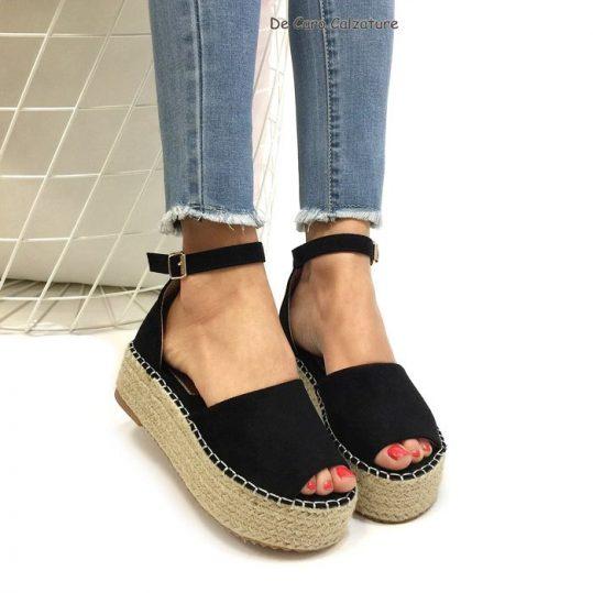 best sneakers 6bd04 f0187 Espadrillas Iknos sandali con zeppa platform in rafia M49