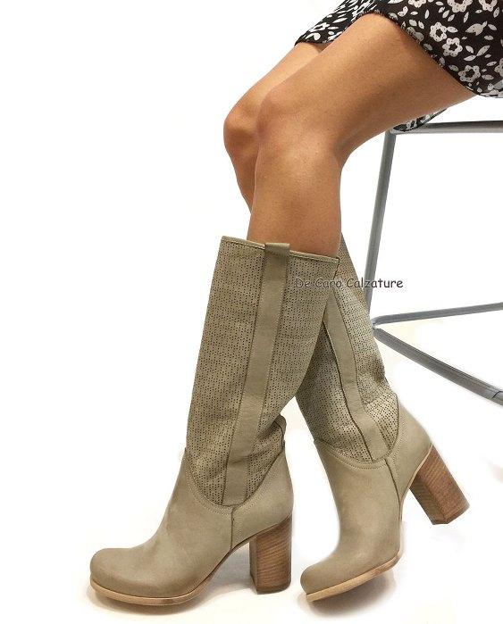 Stivali Ellis VERA PELLE traforati con tacco alto 80 M7