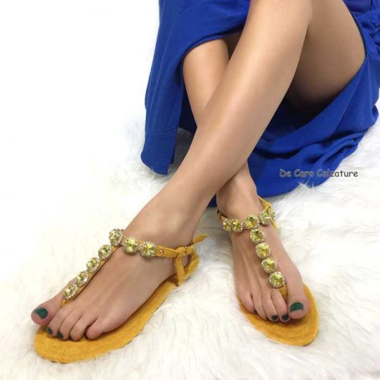 Giallo Sandali Tacco Medio Sandali Eleganti Eleganti shdCtQrx