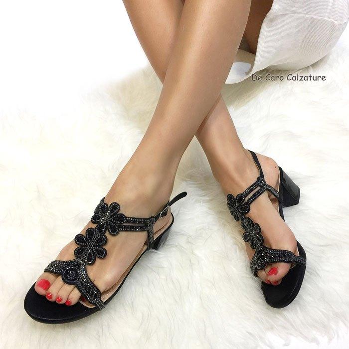 Sandali gioiello Diamante tacco medioalto 5 cm eleganti LL7