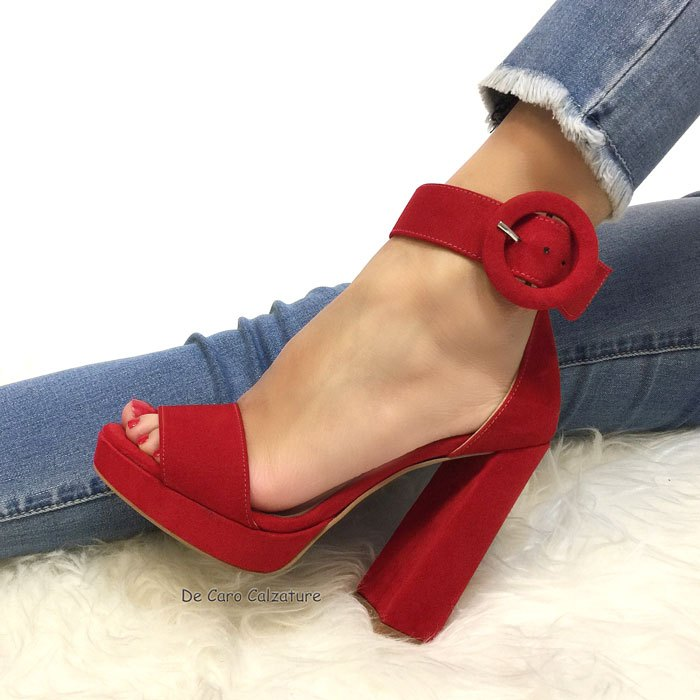 Vernice Rosso Alto Con Tacco Sandali 0nNZOPkX8w