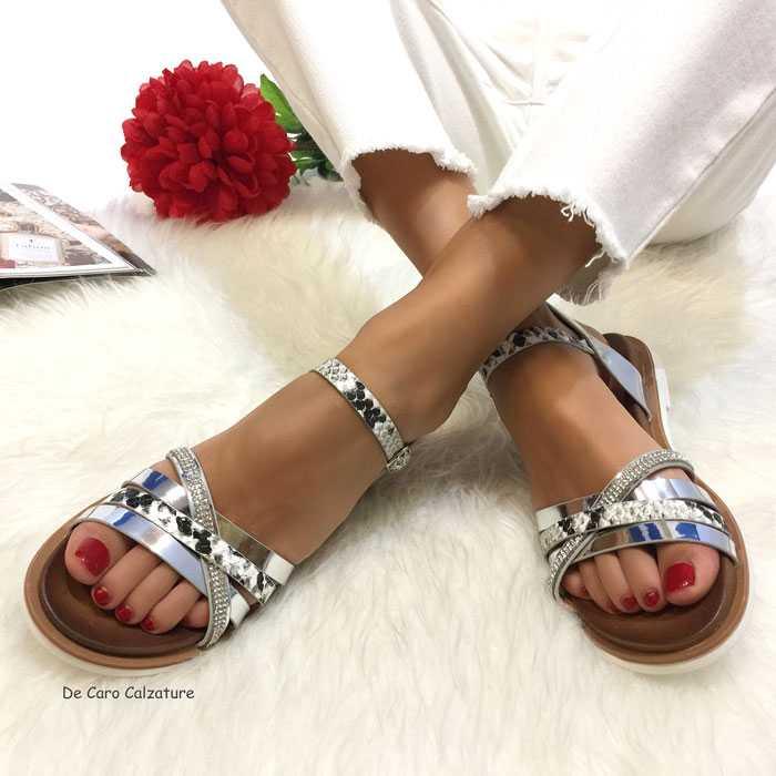 Sandali bassi Ercole ciabatte gioiello con strass LL2