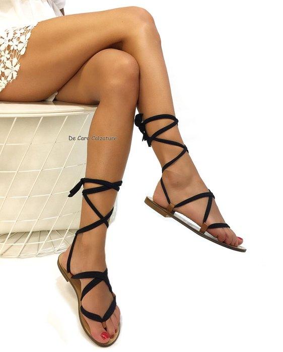 Sandali bassi Pos alla schiava con 3 lacci vero cuoio CC13