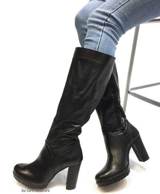 Stivali Etna al polpaccio VERA PELLE con zip tacco 8 DD6