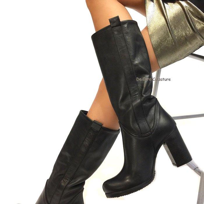 Stivali Levante tacco alto 8 cm VERA PELLE eleganti DD6