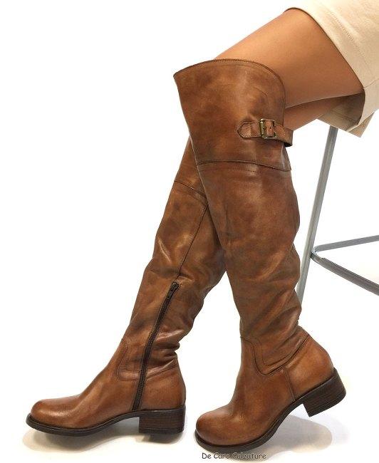 Stivali alti con elastico e zip cuoio in vera pelle da donna