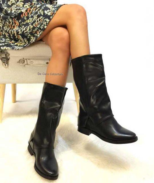 Stivali Corea alti con zeppa interna gambale risvoltato CC7