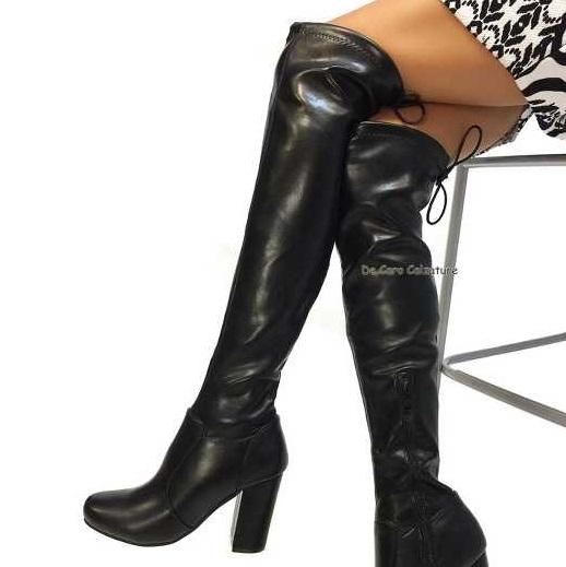 Stivali cuissardes Terry alti sopra il ginocchio tacco alto 85 CC11