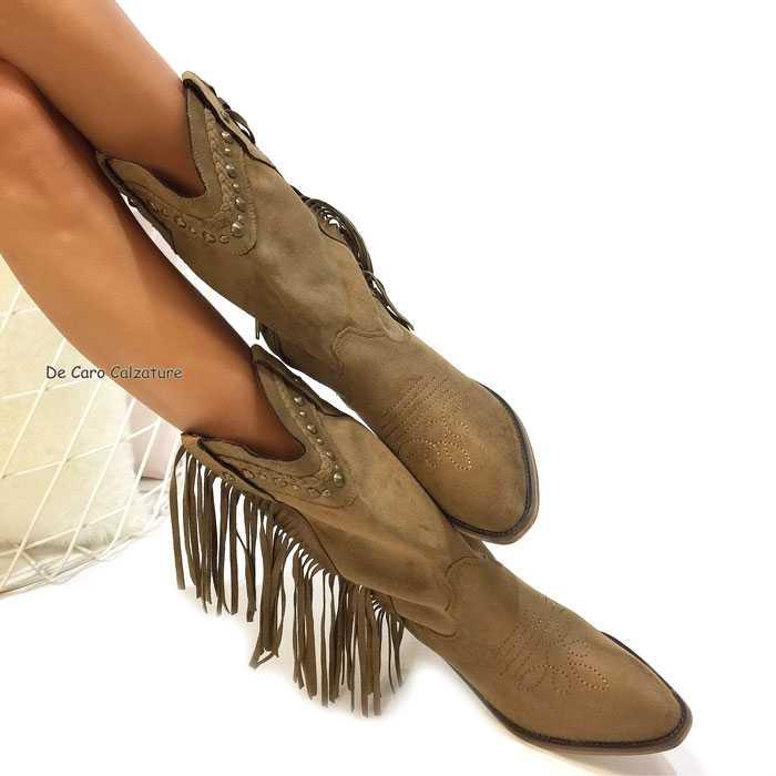 Stivali Texani in Camoscio Neri con Tacco Alto e Borchie