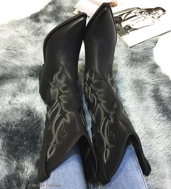 Stivali texani Seredova camperos con gambale ricamato E10