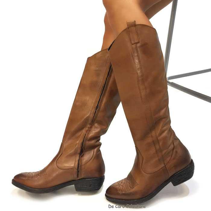 Stivali texani Chloe originali VERA PELLE spazzolata HH1