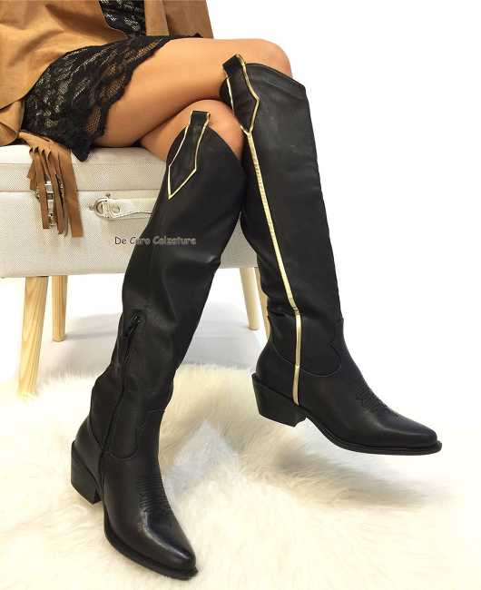 Stivali texani Nina alti al ginocchio nerooro tacco 5 cm CC4