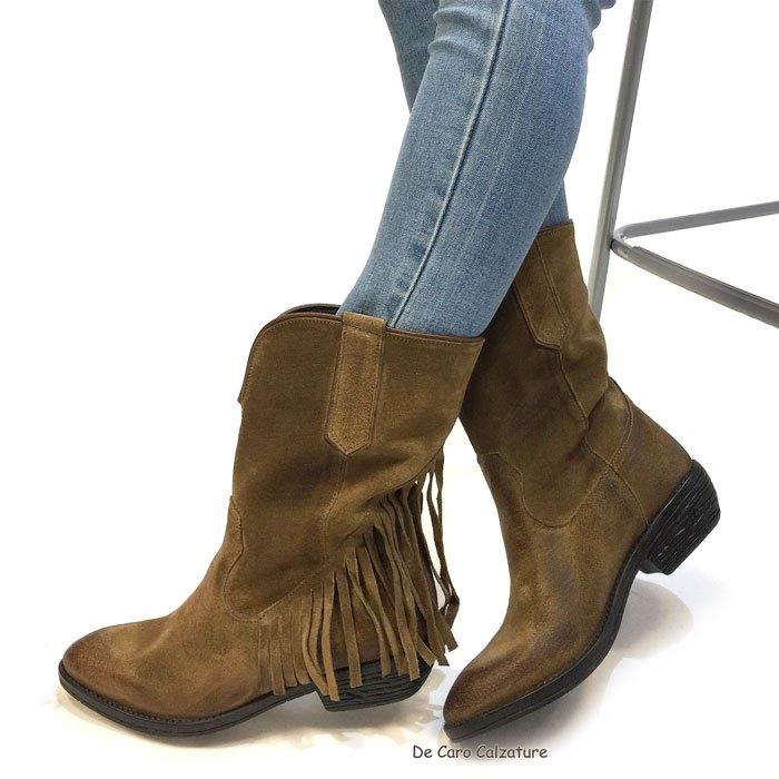 Stivali texani Alma vera pelle scamosciata effetto vintage HH5