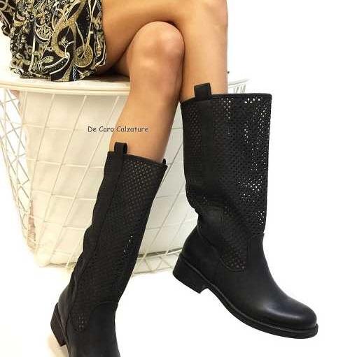 Scarpe donna stivali al ginocchio eco camoscio traforato